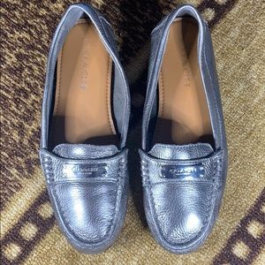 Coach Silver Slip Ons Loafers Frederica Leather